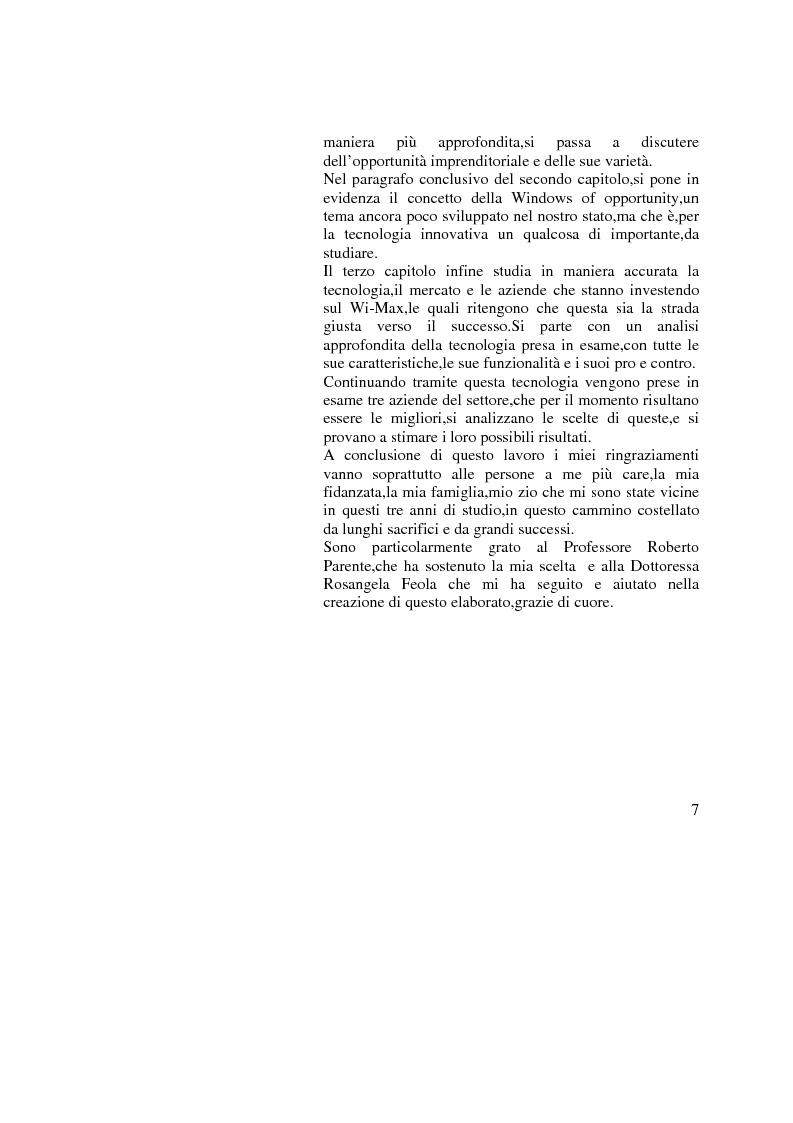Anteprima della tesi: Innovazione e Opportunità Imprenditoriale: il caso Wi-Max, Pagina 3