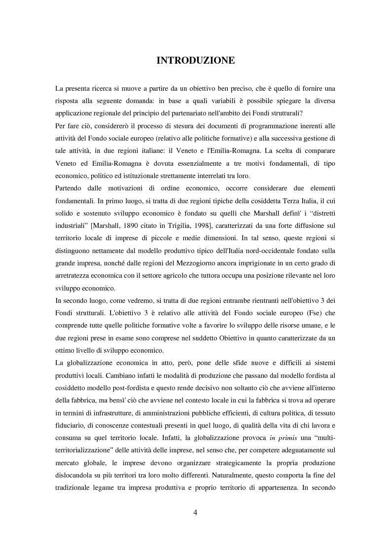 Anteprima della tesi: Il partenariato nel Fondo sociale europeo: i casi di Veneto ed Emilia-Romagna, Pagina 1