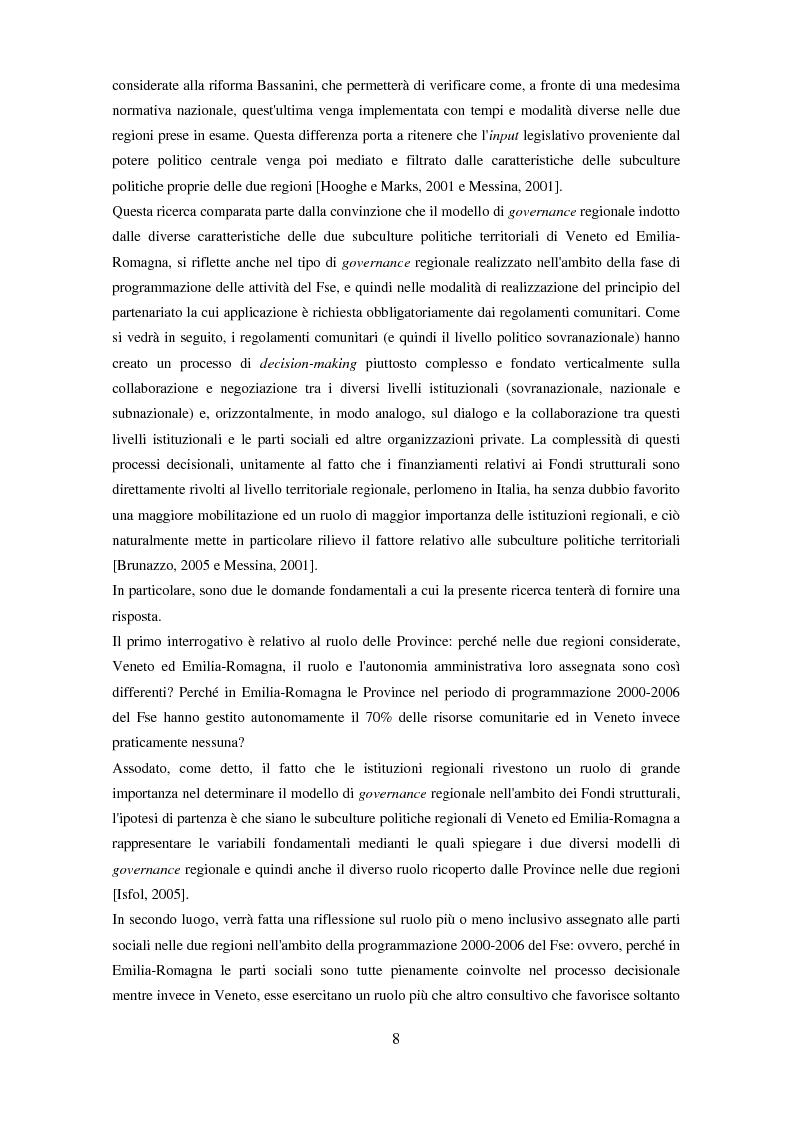 Anteprima della tesi: Il partenariato nel Fondo sociale europeo: i casi di Veneto ed Emilia-Romagna, Pagina 5