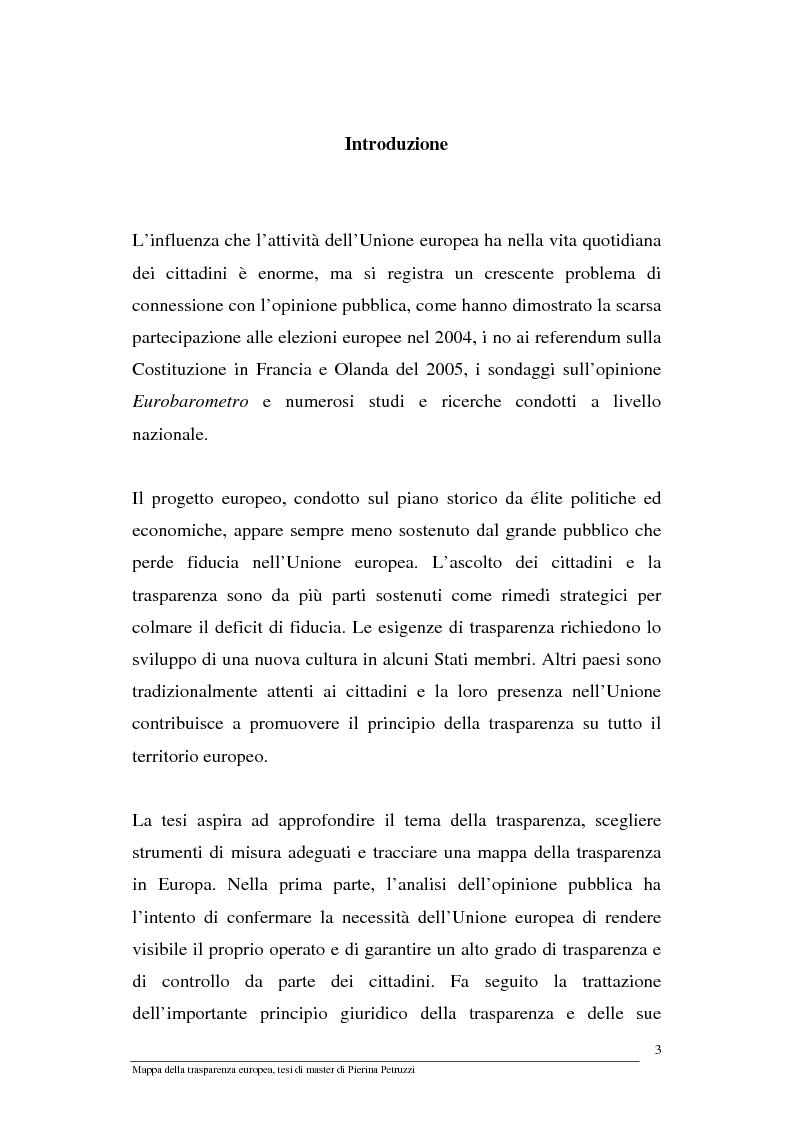 Anteprima della tesi: Mappa della trasparenza europea. Analisi, comparazione di casi e proposte, Pagina 1