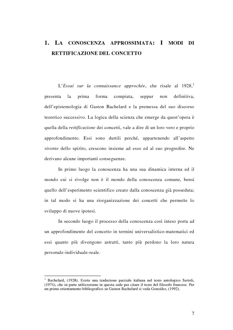 Anteprima della tesi: La conoscenza approssimata e l'ostacolo epistemologico nel primo Bachelard, Pagina 6