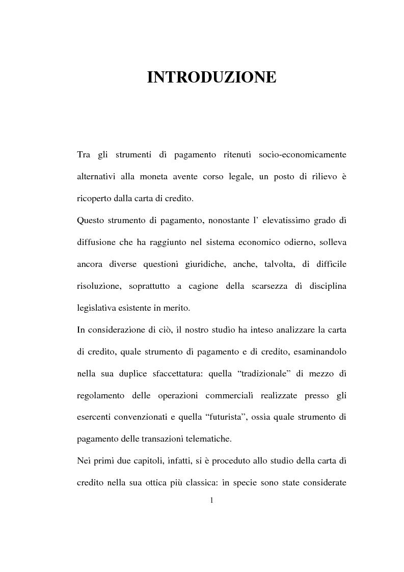 Anteprima della tesi: La carta di credito tra presente e futuro, Pagina 1