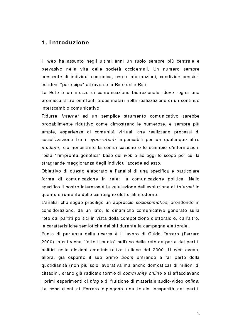 Anteprima della tesi: Elezioni politiche 2006. Berlusconi - Prodi: la sfida passa per la rete? La strategia net-mediatica dei due leaders a confronto, Pagina 1