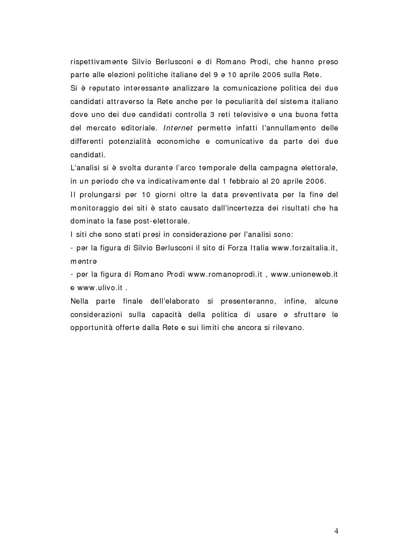 Anteprima della tesi: Elezioni politiche 2006. Berlusconi - Prodi: la sfida passa per la rete? La strategia net-mediatica dei due leaders a confronto, Pagina 3