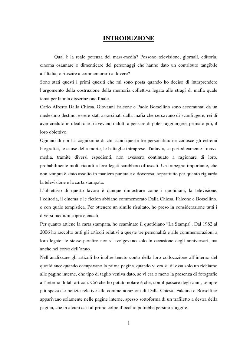Anteprima della tesi: Mass media e memoria: gli attentati Dalla Chiesa, Falcone e Borsellino, Pagina 1