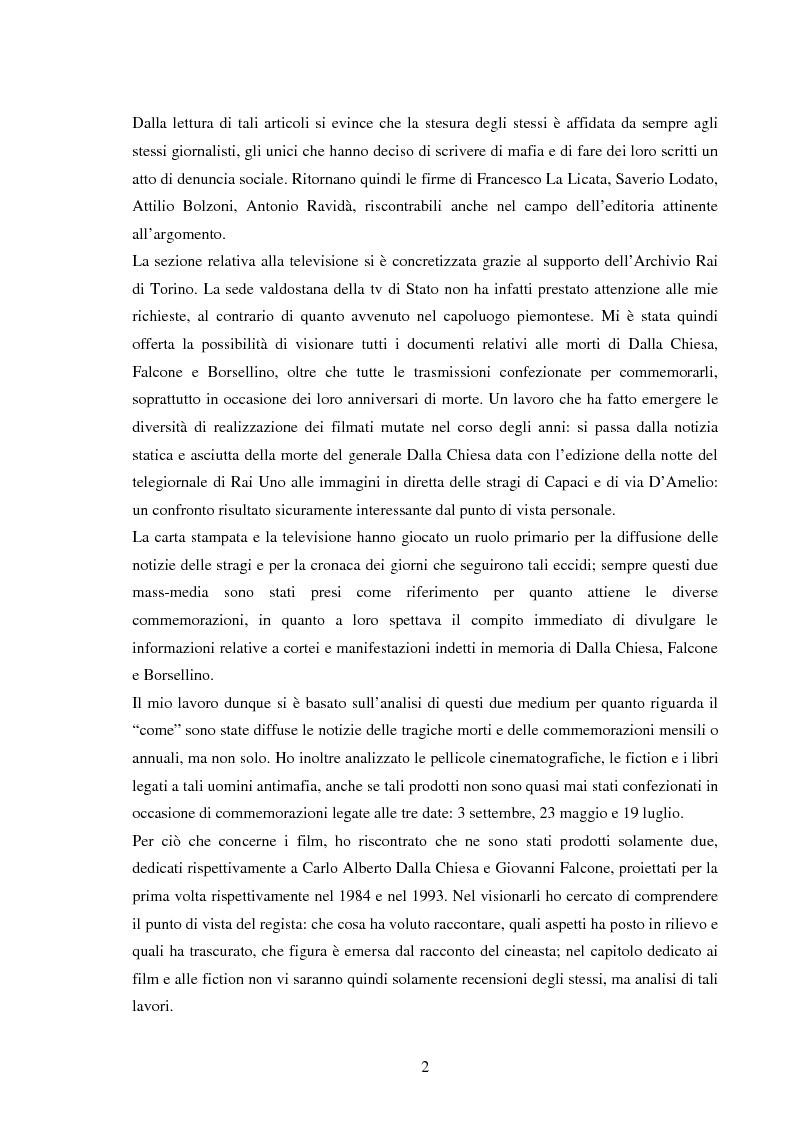 Anteprima della tesi: Mass media e memoria: gli attentati Dalla Chiesa, Falcone e Borsellino, Pagina 2