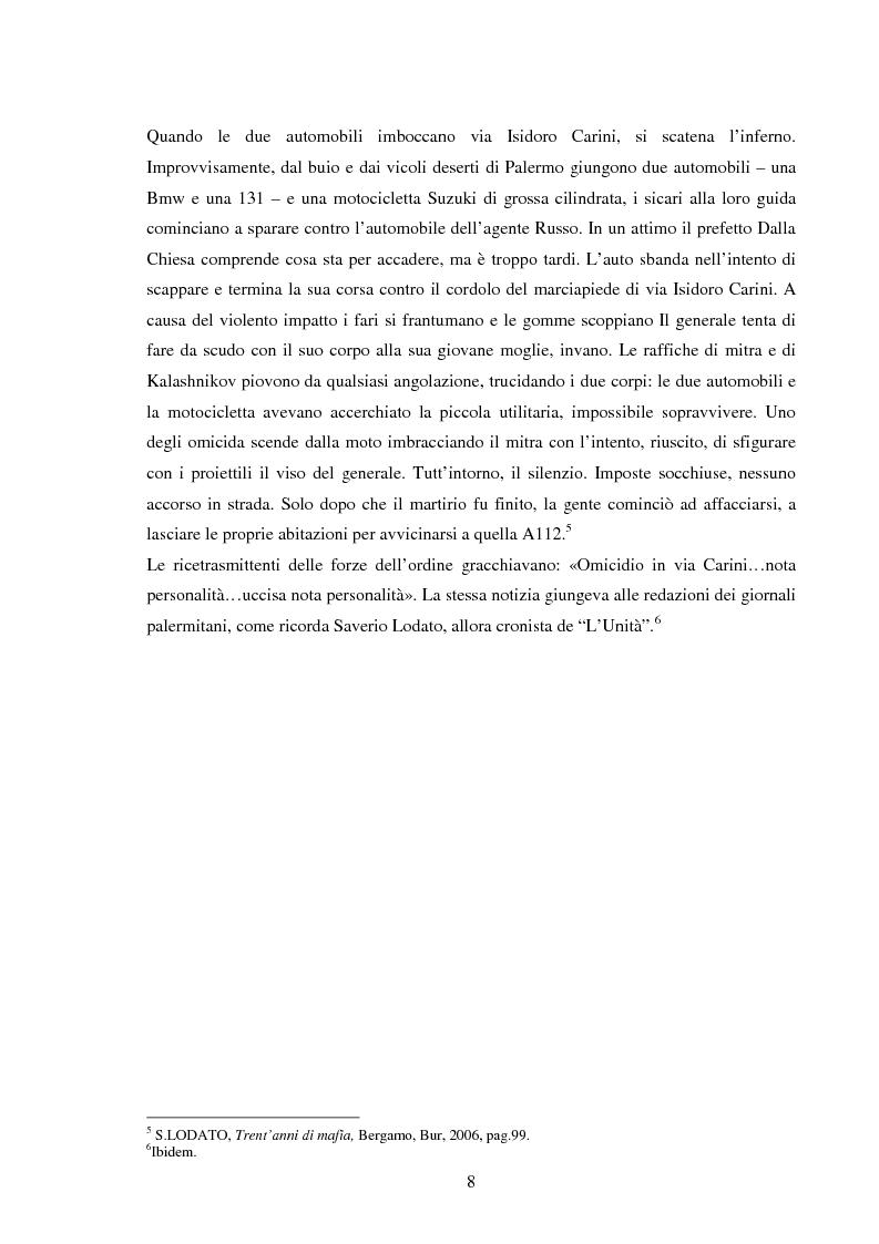 Anteprima della tesi: Mass media e memoria: gli attentati Dalla Chiesa, Falcone e Borsellino, Pagina 8