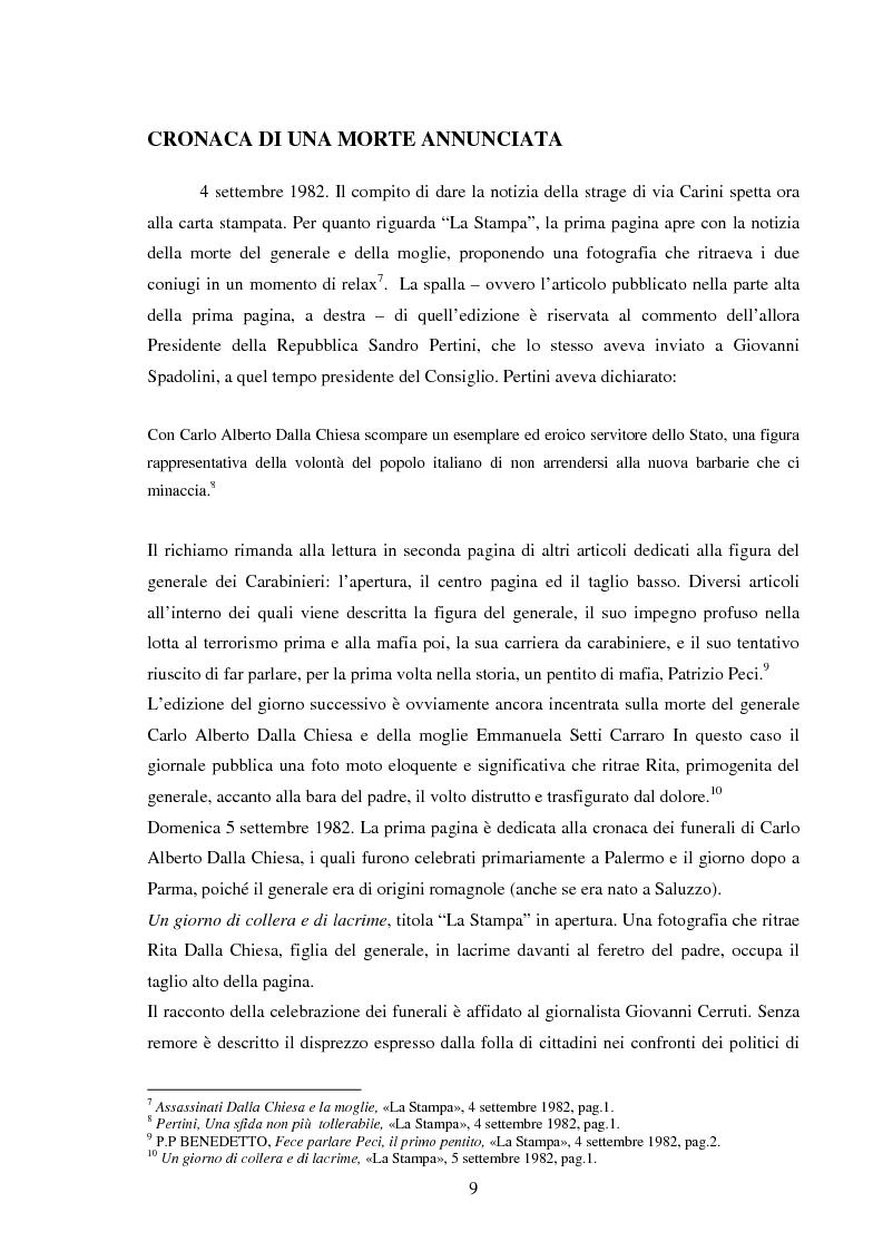 Anteprima della tesi: Mass media e memoria: gli attentati Dalla Chiesa, Falcone e Borsellino, Pagina 9