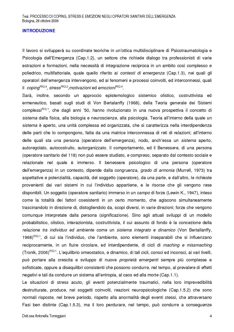 Anteprima della tesi: Strategie di Coping, Stress, Post Traumatic Stress Disorder, Motivazioni ed Emozioni negli Operatori Sanitari dell'Emergenza, Pagina 1