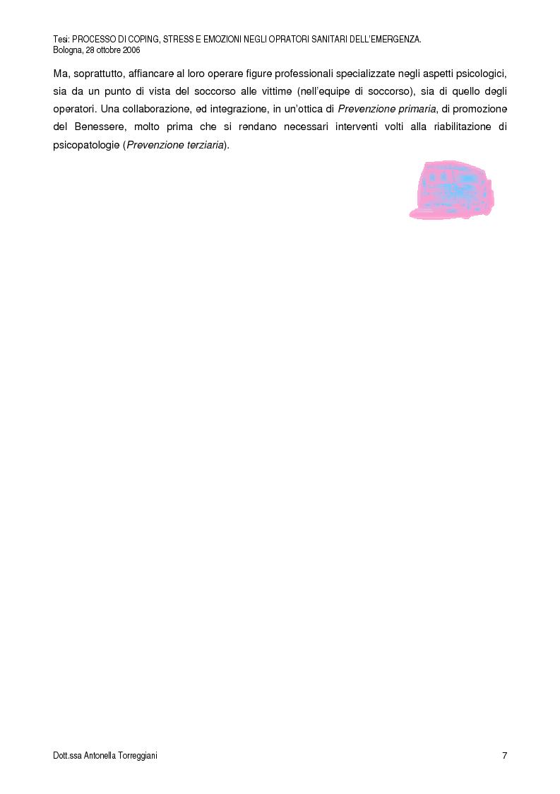 Anteprima della tesi: Strategie di Coping, Stress, Post Traumatic Stress Disorder, Motivazioni ed Emozioni negli Operatori Sanitari dell'Emergenza, Pagina 4
