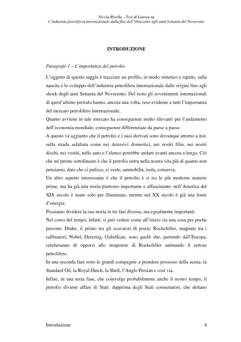 Anteprima della tesi: L'industria petrolifera internazionale dalla fine dell'800 agli anni Settanta del 900 - Imprese, mercati, shock, Pagina 1