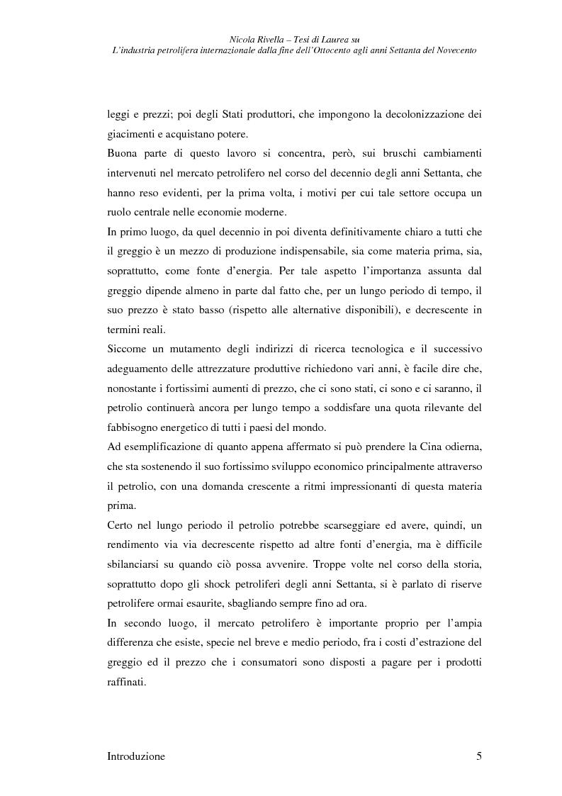 Anteprima della tesi: L'industria petrolifera internazionale dalla fine dell'800 agli anni Settanta del 900 - Imprese, mercati, shock, Pagina 2