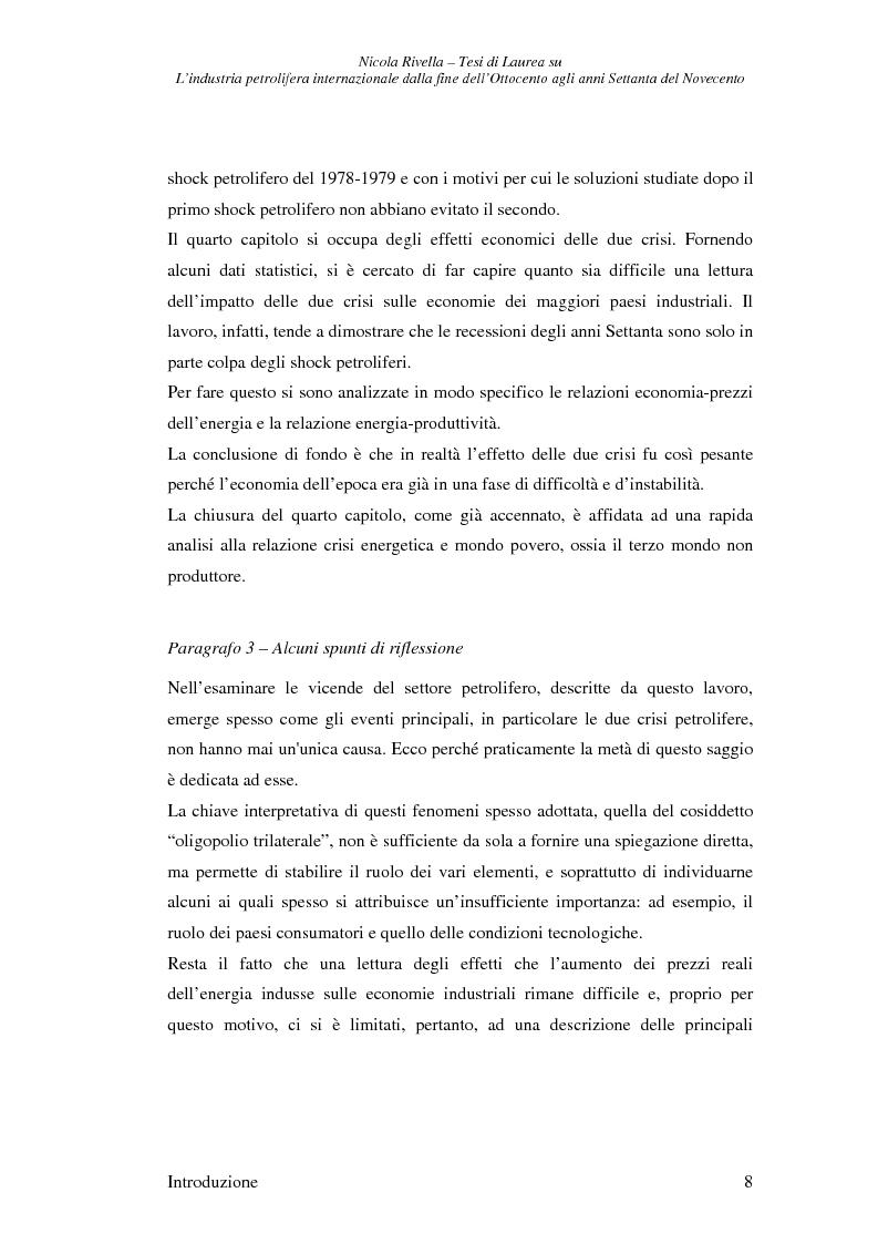 Anteprima della tesi: L'industria petrolifera internazionale dalla fine dell'800 agli anni Settanta del 900 - Imprese, mercati, shock, Pagina 5