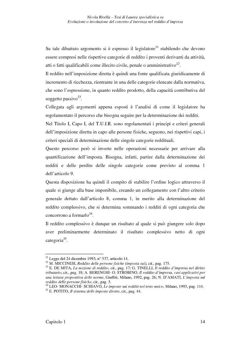 Estratto dalla tesi: Evoluzione o involuzione del concetto d'inerenza nel reddito d'impresa