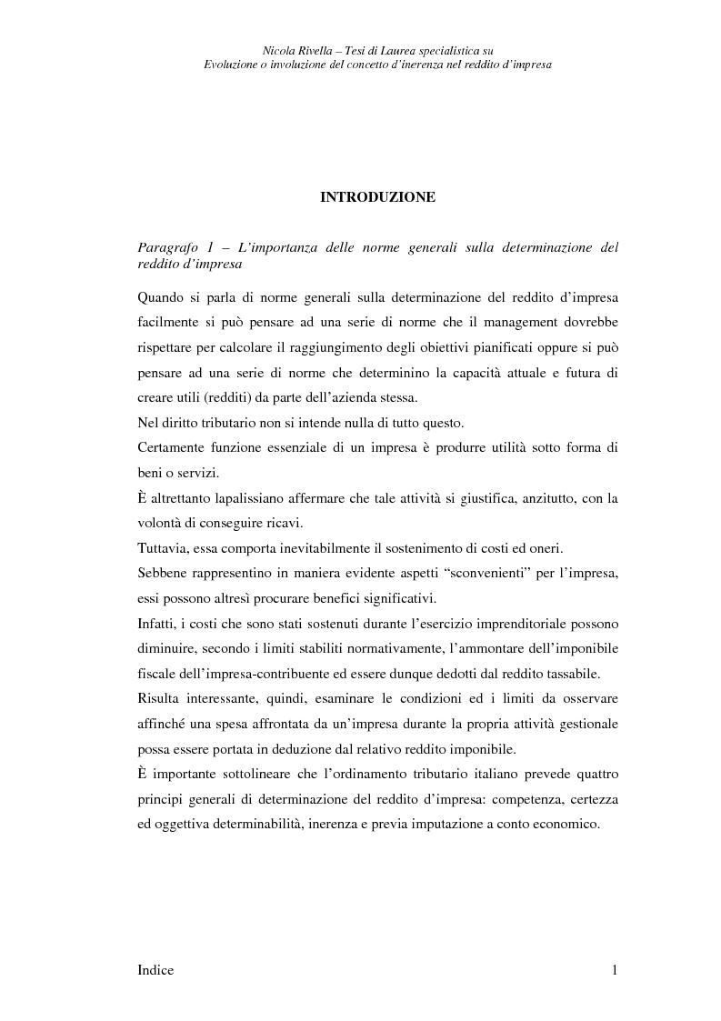 Anteprima della tesi: Evoluzione o involuzione del concetto d'inerenza nel reddito d'impresa, Pagina 1