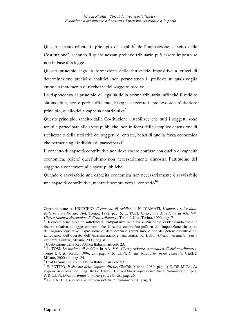 Anteprima della tesi: Evoluzione o involuzione del concetto d'inerenza nel reddito d'impresa, Pagina 10