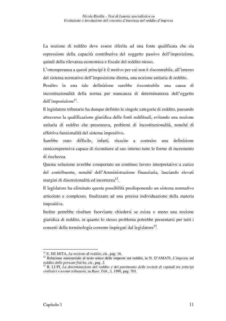 Anteprima della tesi: Evoluzione o involuzione del concetto d'inerenza nel reddito d'impresa, Pagina 11