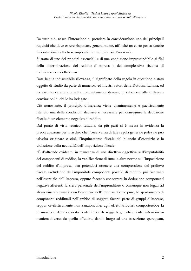 Anteprima della tesi: Evoluzione o involuzione del concetto d'inerenza nel reddito d'impresa, Pagina 2