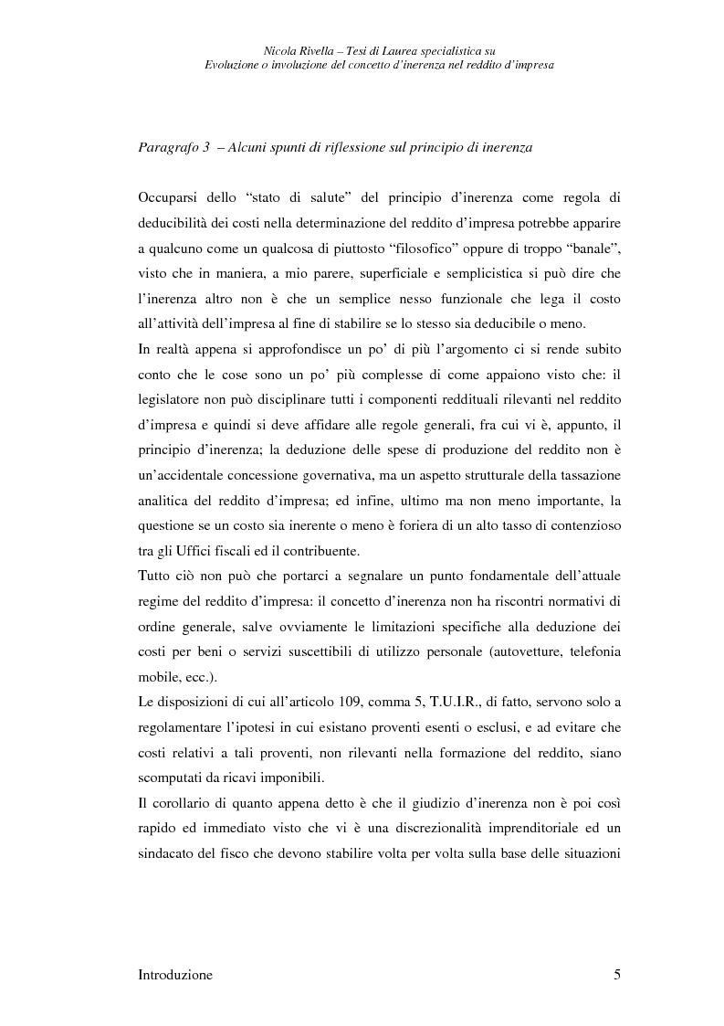 Anteprima della tesi: Evoluzione o involuzione del concetto d'inerenza nel reddito d'impresa, Pagina 5