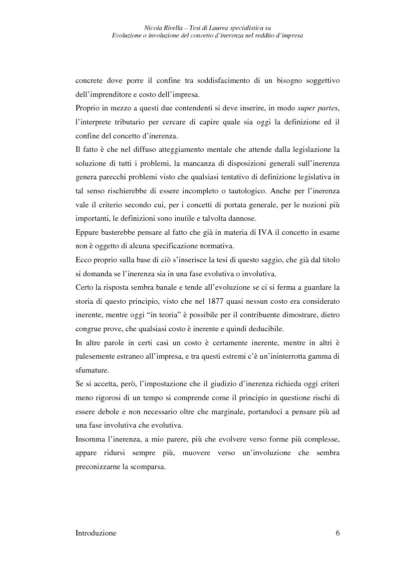 Anteprima della tesi: Evoluzione o involuzione del concetto d'inerenza nel reddito d'impresa, Pagina 6