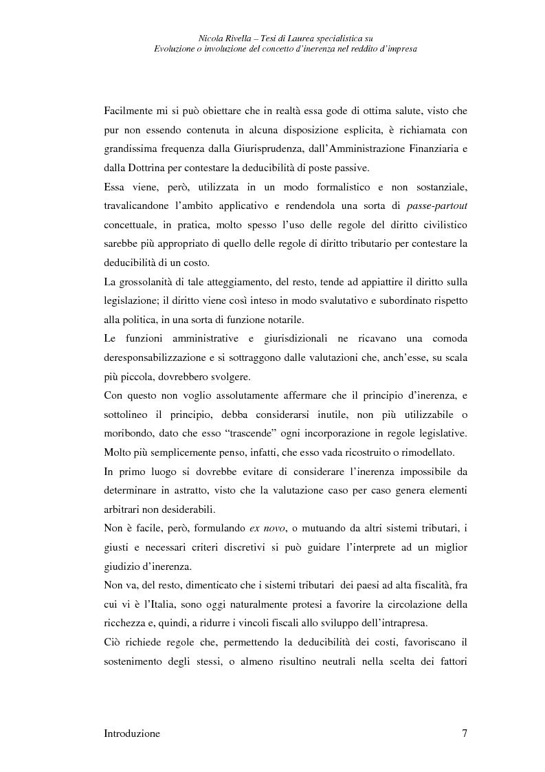 Anteprima della tesi: Evoluzione o involuzione del concetto d'inerenza nel reddito d'impresa, Pagina 7