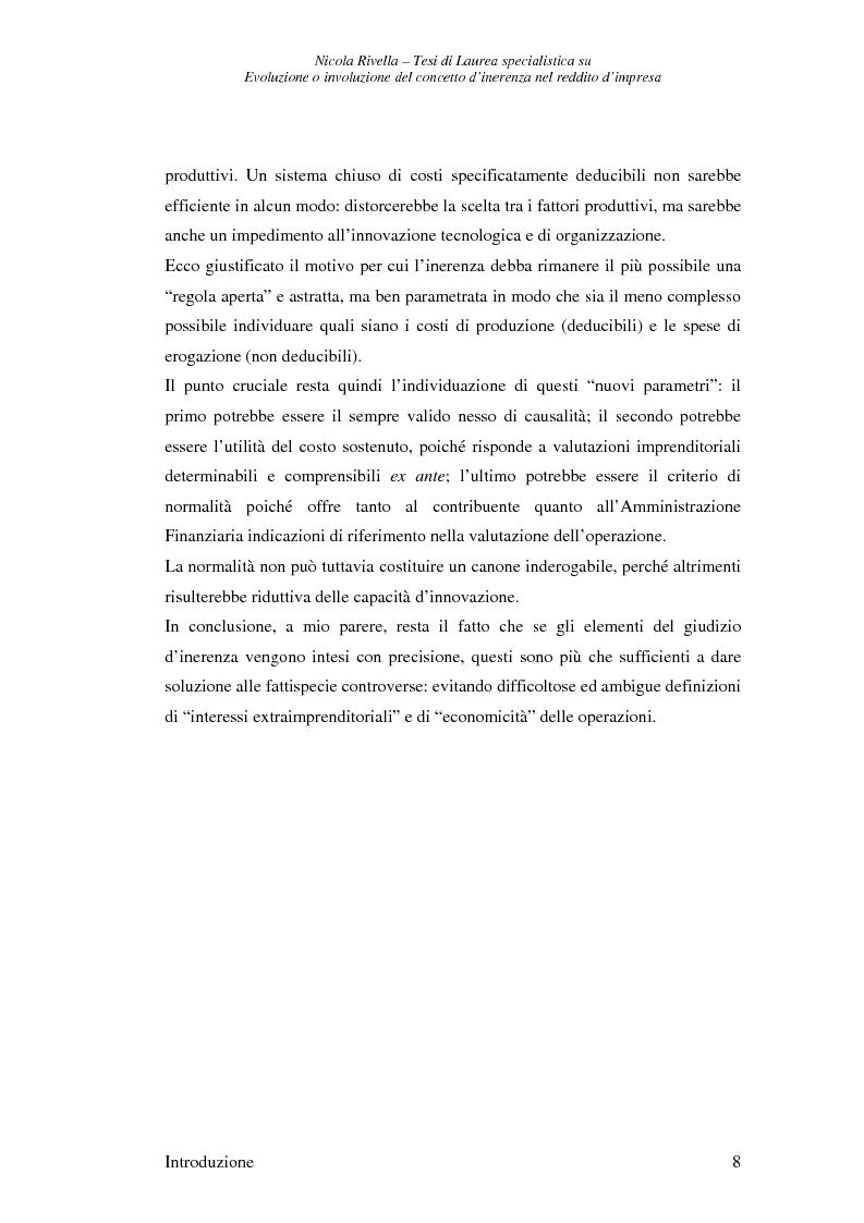 Anteprima della tesi: Evoluzione o involuzione del concetto d'inerenza nel reddito d'impresa, Pagina 8