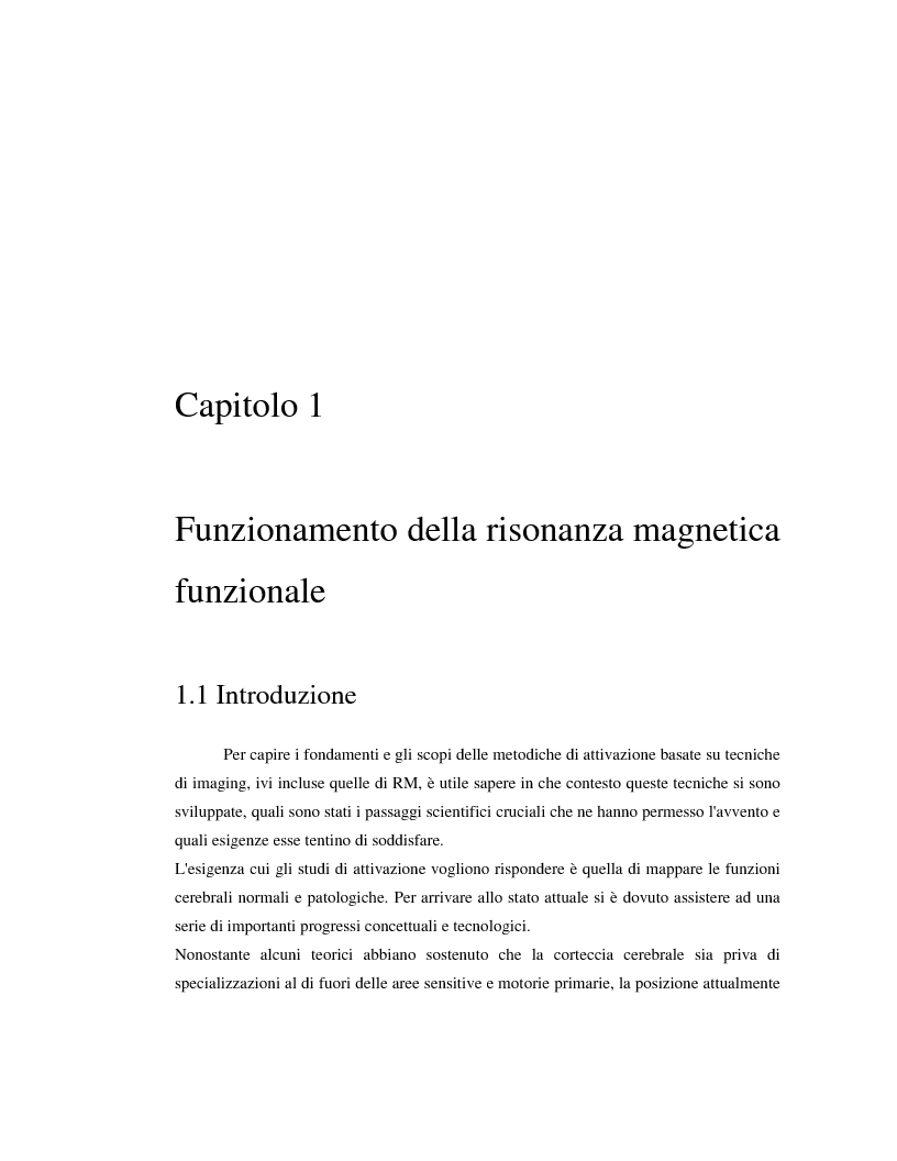 Anteprima della tesi: Un nuovo approccio di utilizzo della trasformata wavelet ridondante per l'analisi dei dati fMRI, Pagina 1