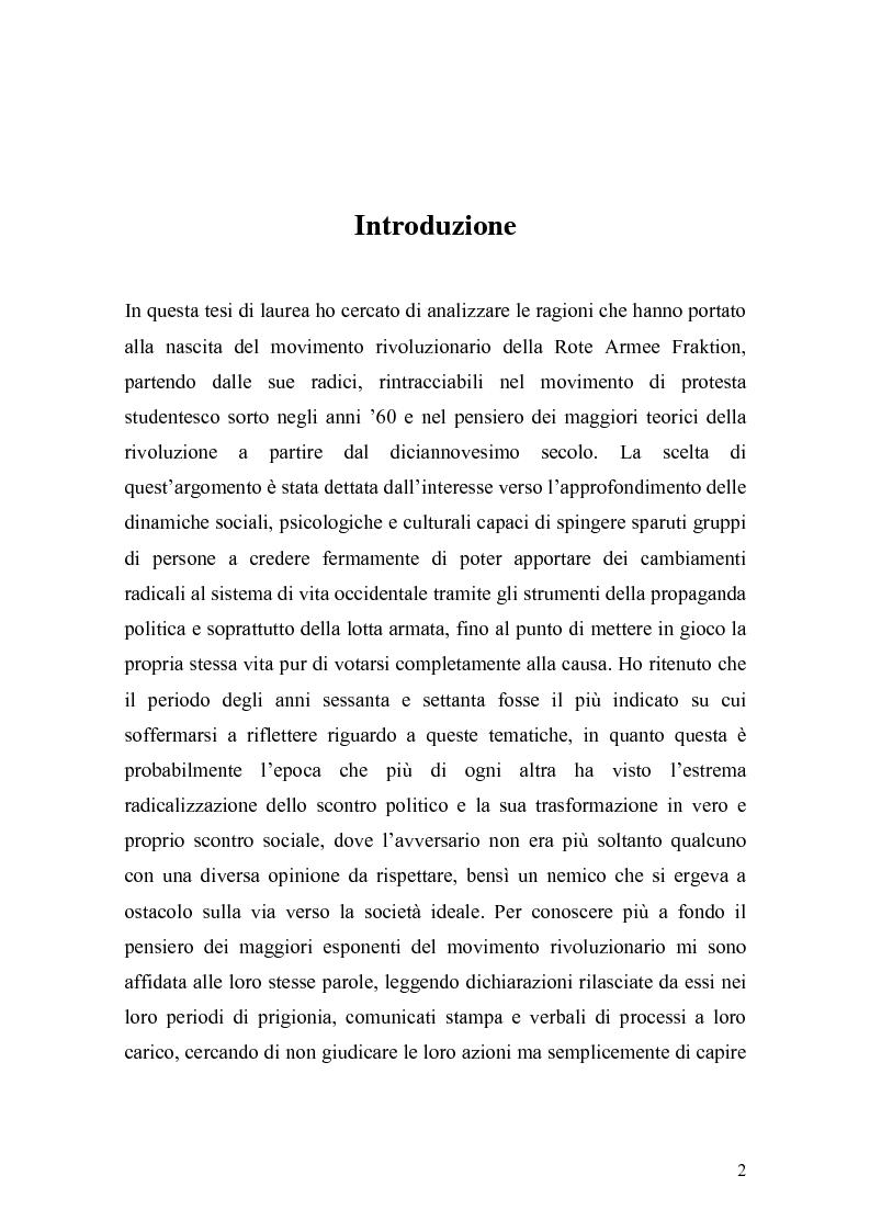Anteprima della tesi: Guerriglia urbana e rivoluzione sociale: l'esperienza della Rote Armee Fraktion, Pagina 1