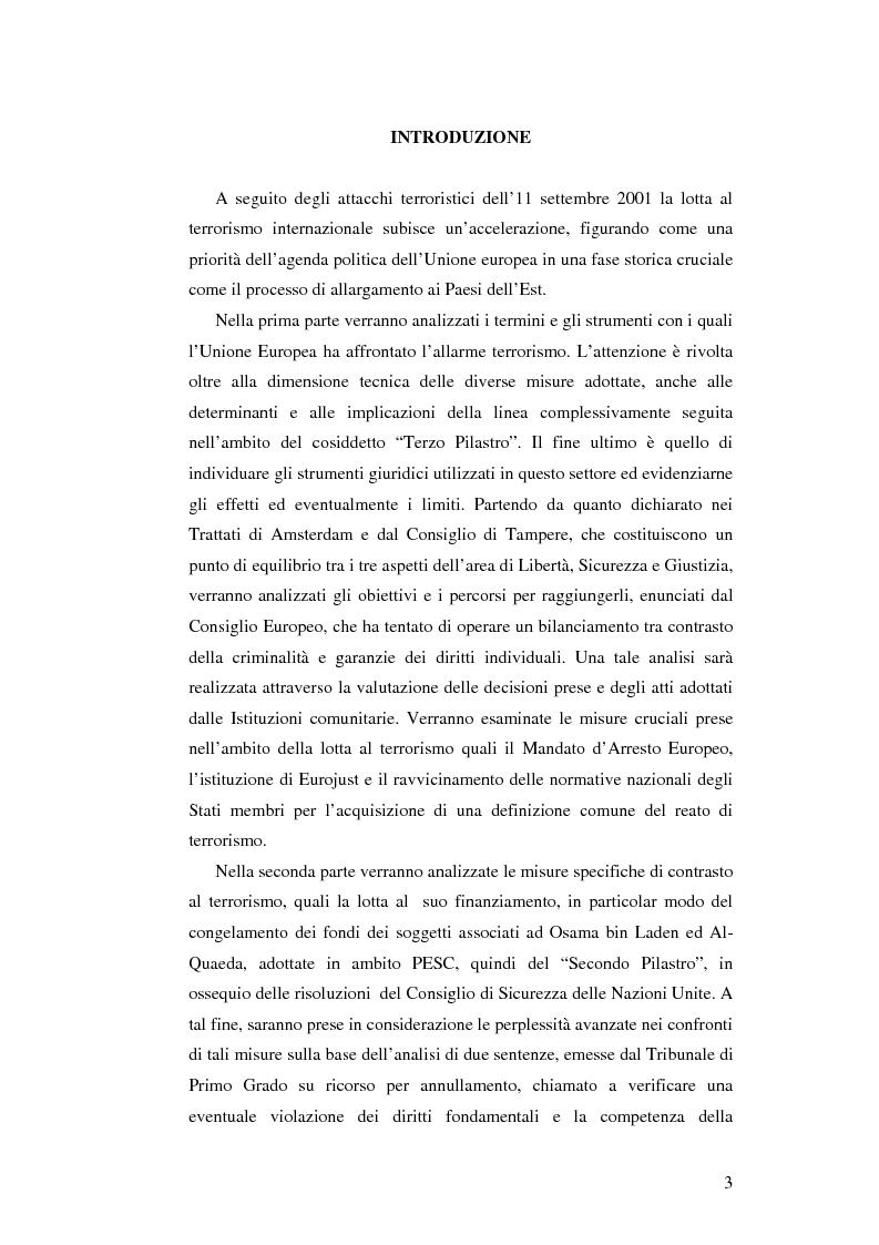 Anteprima della tesi: L'Unione Europea e la lotta al terrorismo: gli atti adottati dopo l'11 settembre, Pagina 1