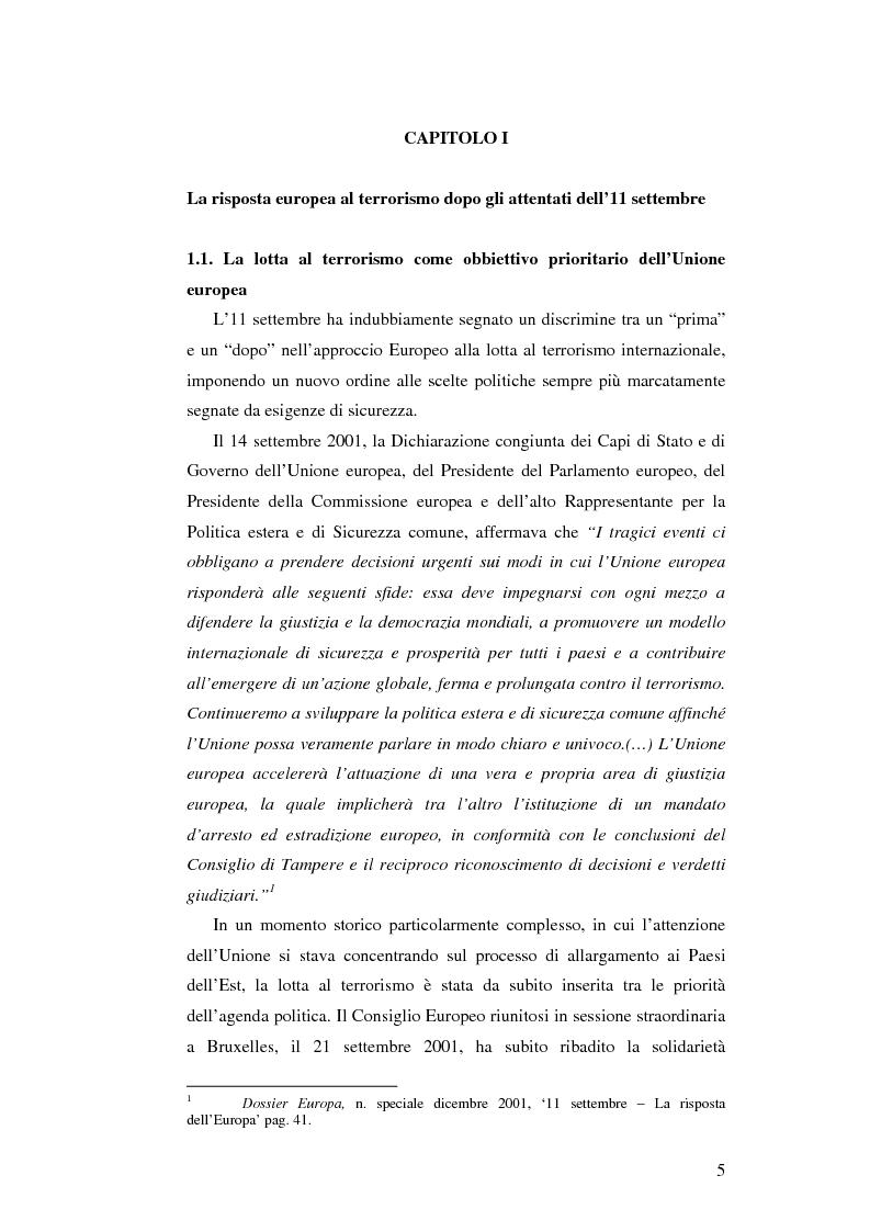 Anteprima della tesi: L'Unione Europea e la lotta al terrorismo: gli atti adottati dopo l'11 settembre, Pagina 3