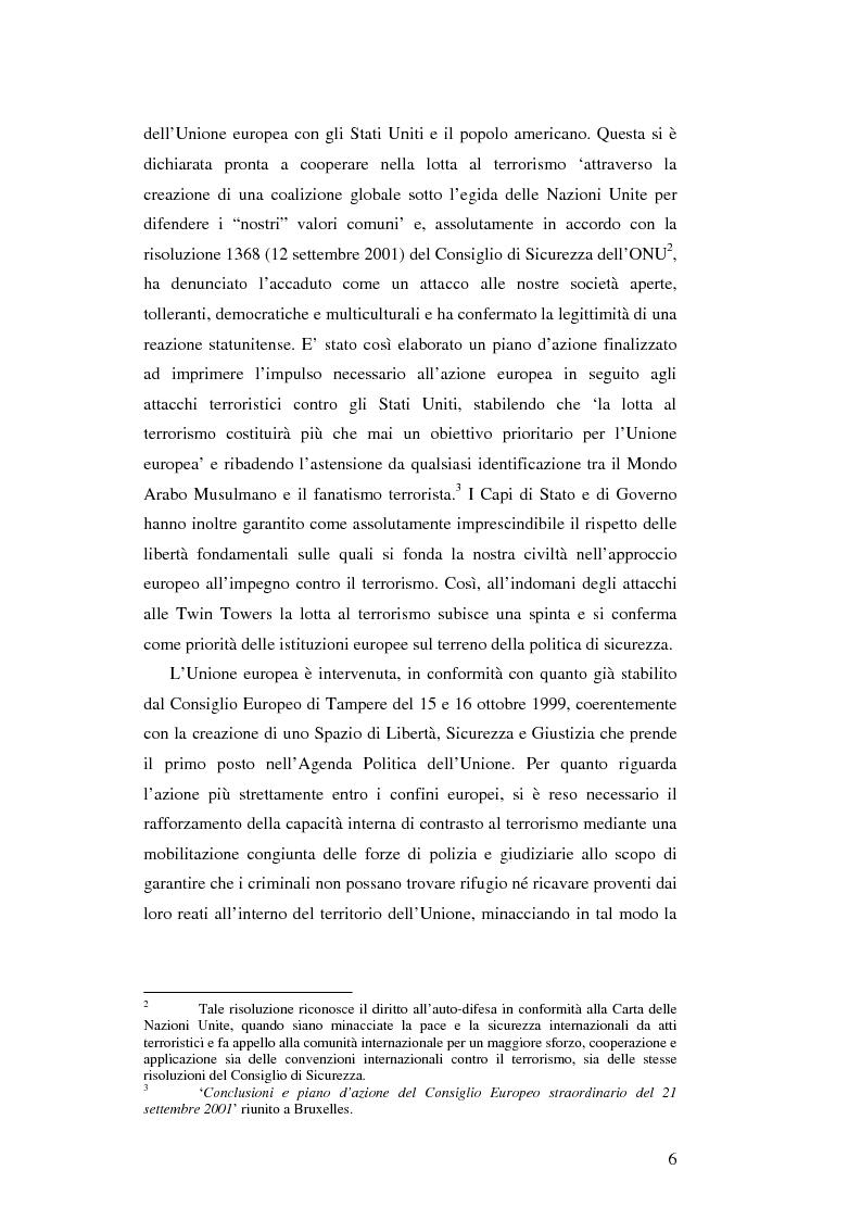 Anteprima della tesi: L'Unione Europea e la lotta al terrorismo: gli atti adottati dopo l'11 settembre, Pagina 4
