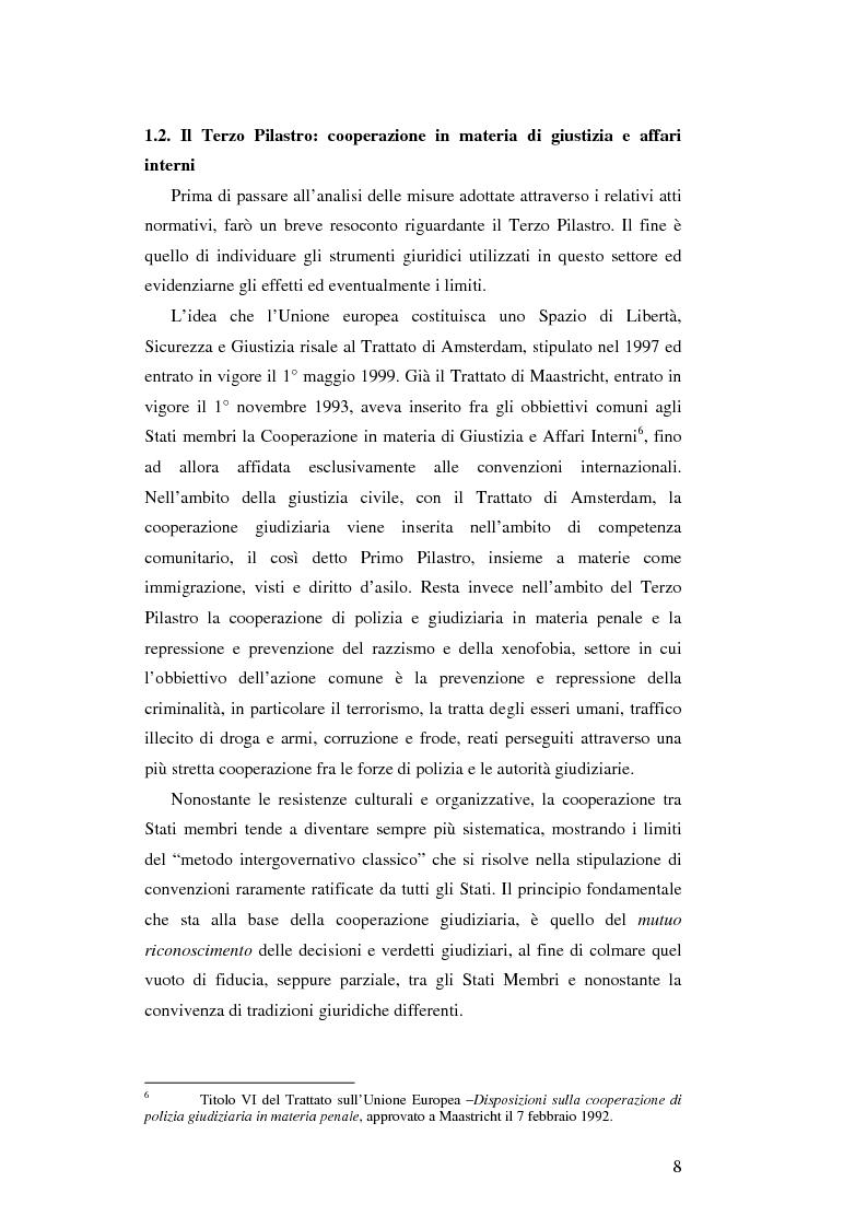 Anteprima della tesi: L'Unione Europea e la lotta al terrorismo: gli atti adottati dopo l'11 settembre, Pagina 6