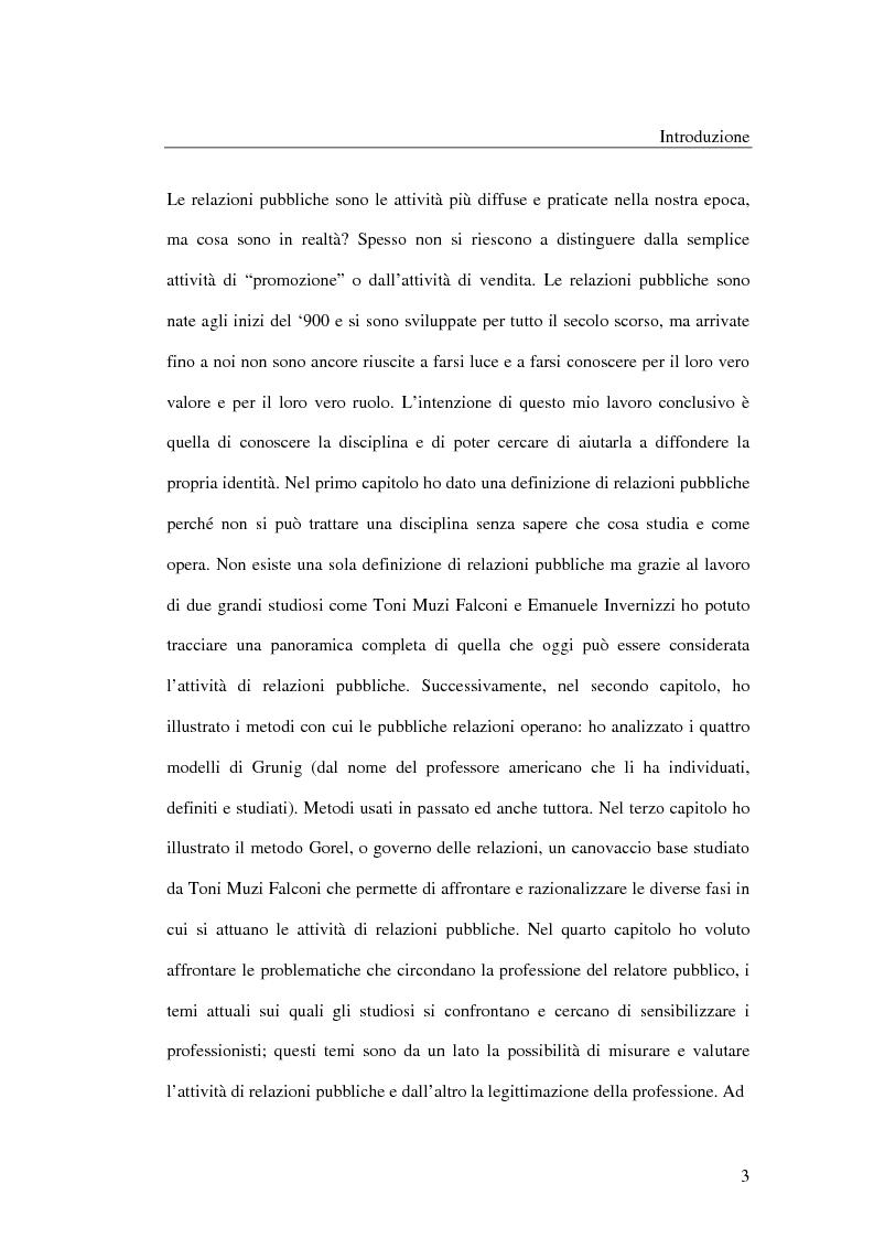 Anteprima della tesi: I metodi delle relazioni pubbliche e il ruolo della professione, Pagina 1