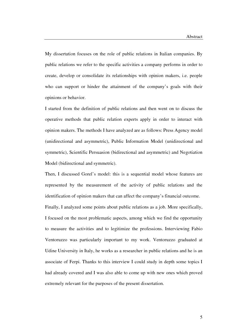 Anteprima della tesi: I metodi delle relazioni pubbliche e il ruolo della professione, Pagina 3