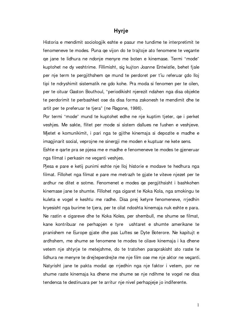 Anteprima della tesi: Moda dhe kinemaja. Fenomenet e modes te gjeneruar nga filmat, Pagina 1