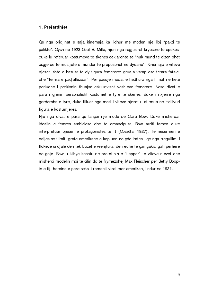 Anteprima della tesi: Moda dhe kinemaja. Fenomenet e modes te gjeneruar nga filmat, Pagina 3
