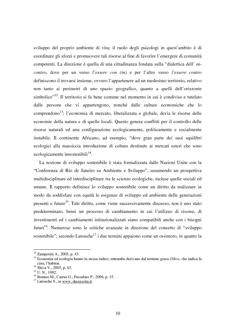 Anteprima della tesi: Il bene comune del territorio: sentire ecologico e cittadinanza nelle pratiche psicosociali, Pagina 7