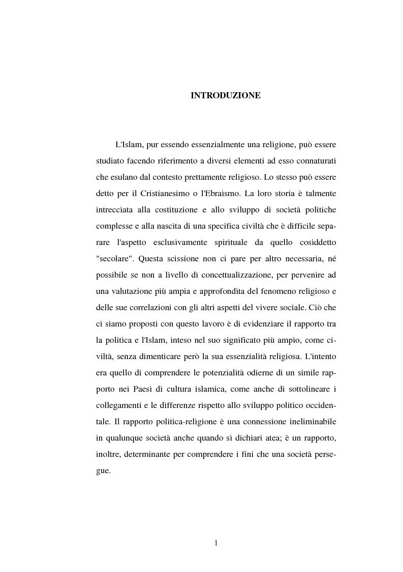 Anteprima della tesi: Din - Dunya - Dawla, Il significato politico dell'Islam tra conformità al modello ideale e potere reale, Pagina 1