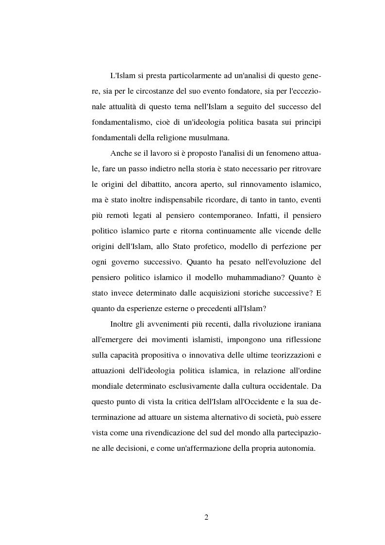 Anteprima della tesi: Din - Dunya - Dawla, Il significato politico dell'Islam tra conformità al modello ideale e potere reale, Pagina 2