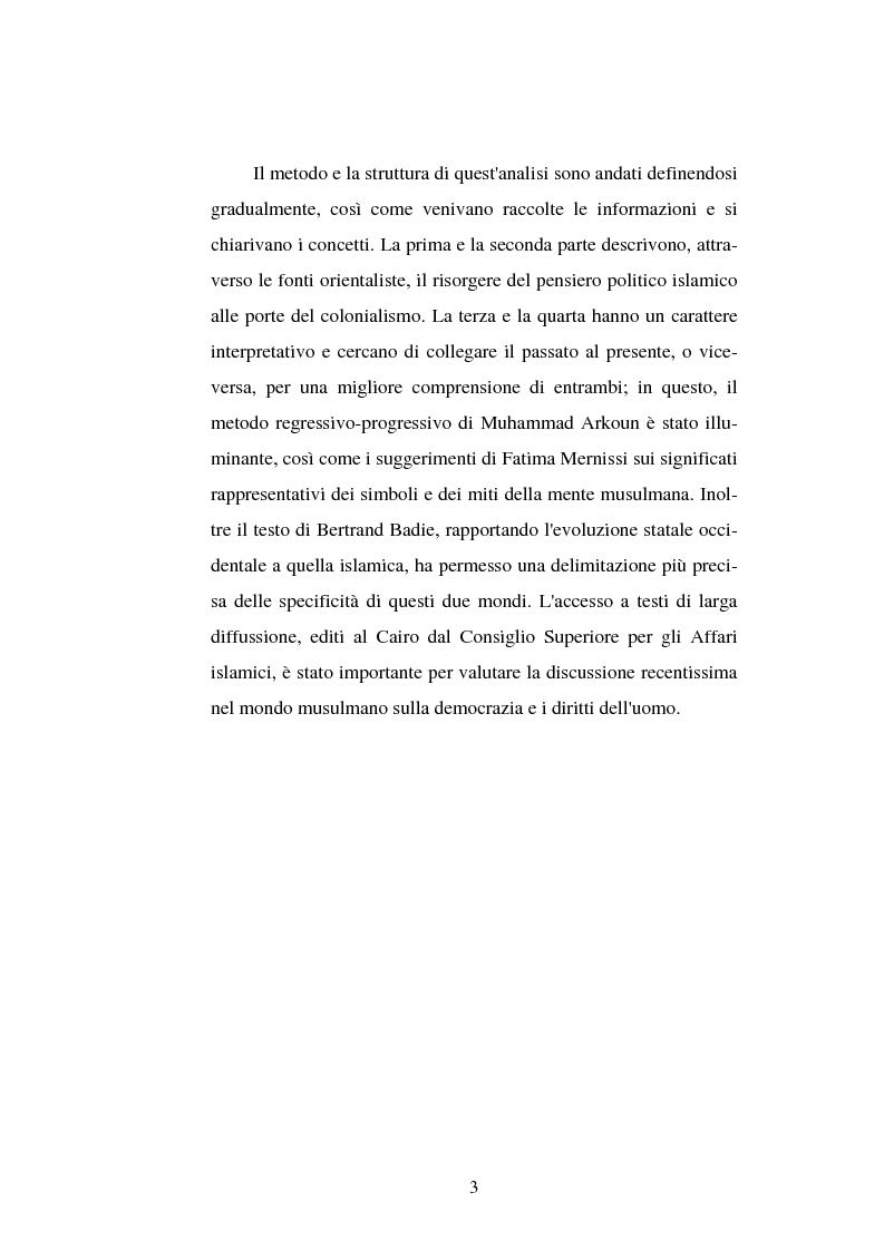 Anteprima della tesi: Din - Dunya - Dawla, Il significato politico dell'Islam tra conformità al modello ideale e potere reale, Pagina 3