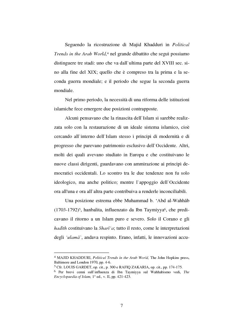 Anteprima della tesi: Din - Dunya - Dawla, Il significato politico dell'Islam tra conformità al modello ideale e potere reale, Pagina 7