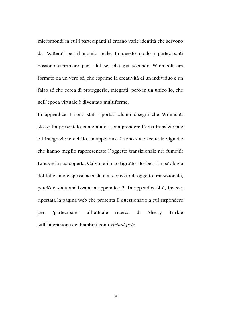 Anteprima della tesi: L'oggetto transizionale nell'epoca virtuale, Pagina 6