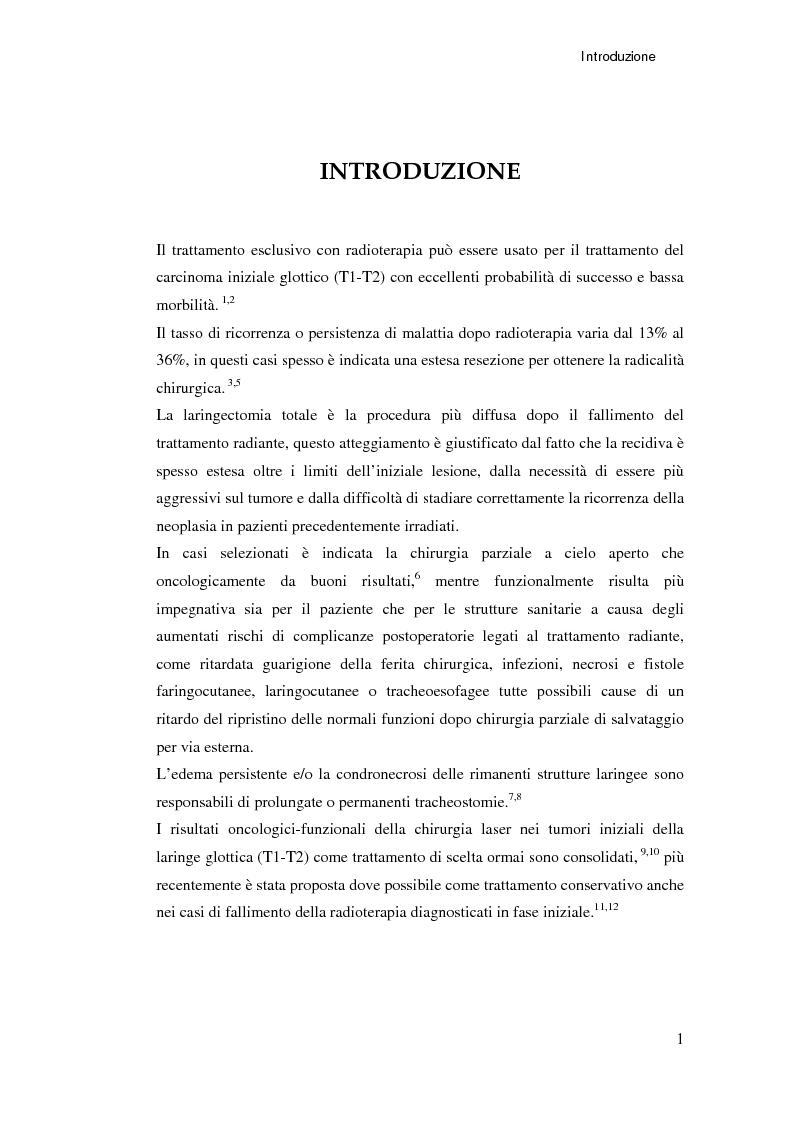 Anteprima della tesi: Ruolo della chirurgia laser nel trattamento delle recidive di carcinoma spinocellulare della laringe glottica in fase iniziale dopo radioterapia, Pagina 1
