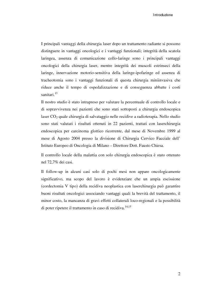 Anteprima della tesi: Ruolo della chirurgia laser nel trattamento delle recidive di carcinoma spinocellulare della laringe glottica in fase iniziale dopo radioterapia, Pagina 2