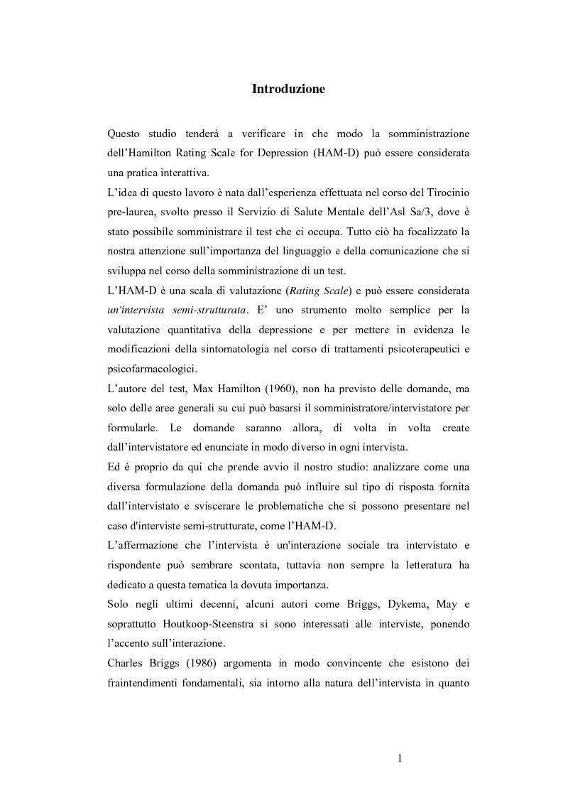Anteprima della tesi: L'Hamilton Rating Scale for Depression: la somministrazione come pratica interattiva., Pagina 1