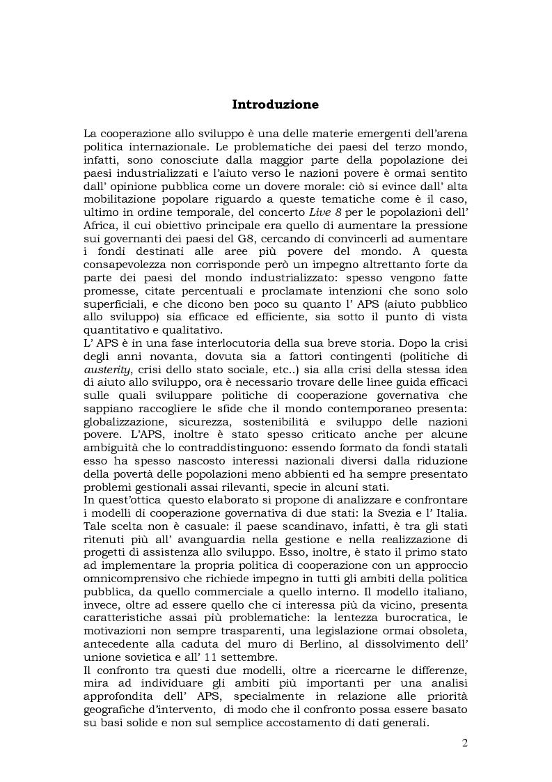 Anteprima della tesi: L'aiuto pubblico allo sviluppo (APS) e le priorità geografiche, due modelli a confronto. Svezia e Italia, Pagina 1