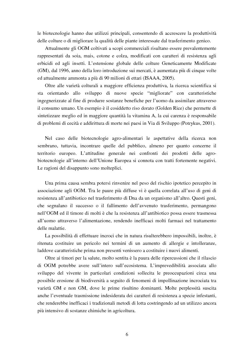 Anteprima della tesi: Le attitudini al consumo di alimenti Geneticamente Modificati: uso dei Modelli a Scelta Discreta per l'analisi del caso Trentino, Pagina 2