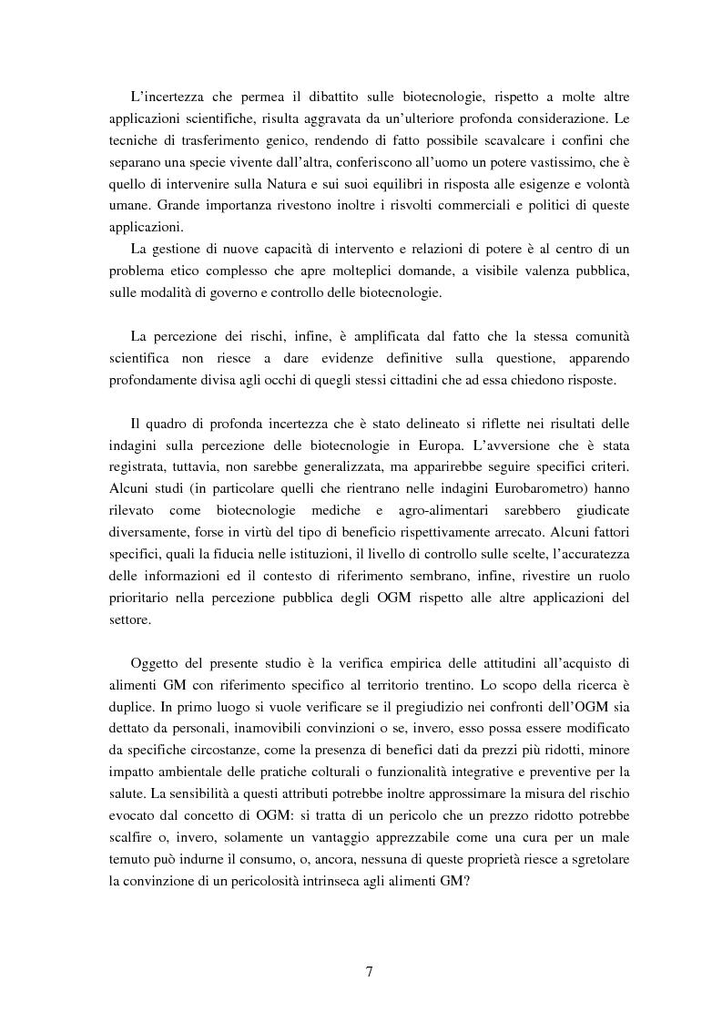 Anteprima della tesi: Le attitudini al consumo di alimenti Geneticamente Modificati: uso dei Modelli a Scelta Discreta per l'analisi del caso Trentino, Pagina 3