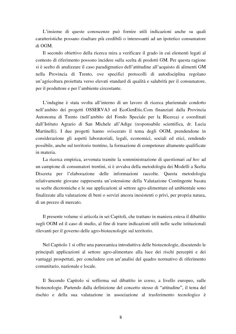 Anteprima della tesi: Le attitudini al consumo di alimenti Geneticamente Modificati: uso dei Modelli a Scelta Discreta per l'analisi del caso Trentino, Pagina 4