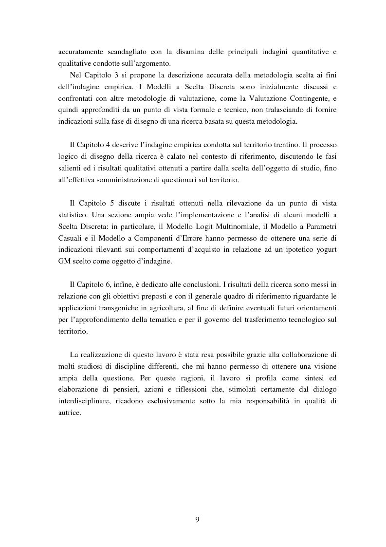 Anteprima della tesi: Le attitudini al consumo di alimenti Geneticamente Modificati: uso dei Modelli a Scelta Discreta per l'analisi del caso Trentino, Pagina 5